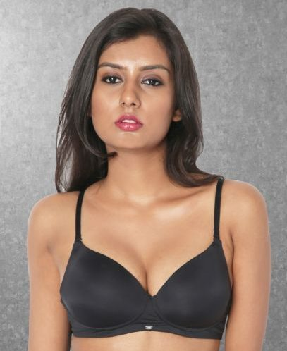 Black Polyamide Padded Non-Wired Bra
