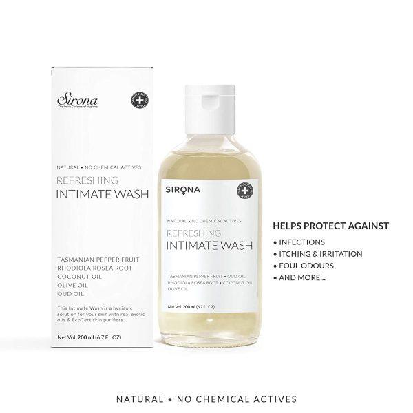 Sirona Natural pH balanced Intimate Wash with No Chemical Actives – 200ml