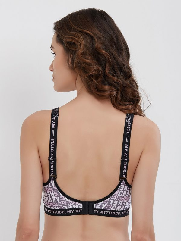 Grey Printed Non-Wired Lightly Padded Sports Bra