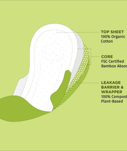 Pee Safe 100% Organic Cotton, Biodegradable Sanitary Pads - Regular (Pack of 10)