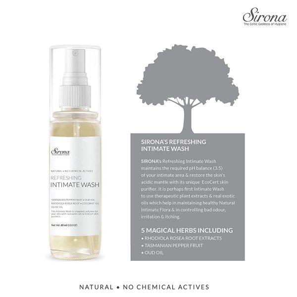 Sirona Natural pH balanced Intimate Wash with No Chemical Actives – 60ml