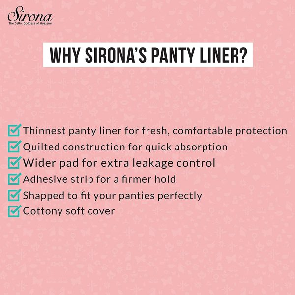 SIRONA Ultra-Thin Premium Panty Liners (Regular Flow) – 30 Counts – Large