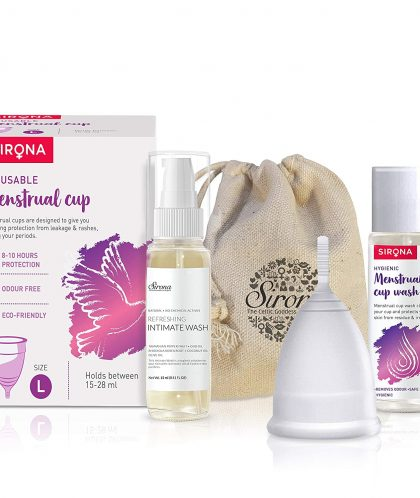 Sirona Pro Reusable Menstrual Cup - Large, Super Soft FDA Approved Made with Liquid Medical Grade Silicone