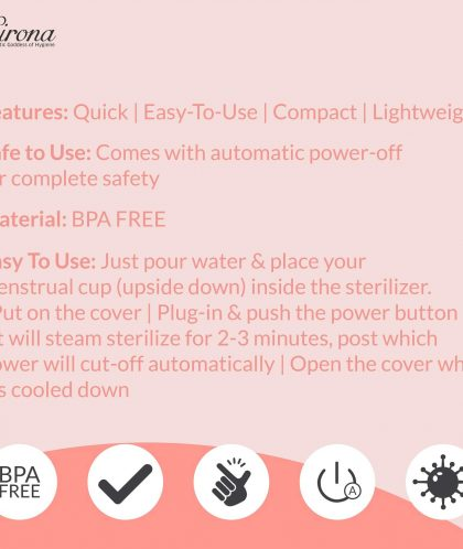Sirona Menstrual Cup Sterilizer – Clean Effortlessly – Kills 99% of Germs in 3 Minutes with Steam – 1 Unit