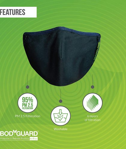 BodyGuard Reusable Anti Pollution Face Mask for Men and Women – Large