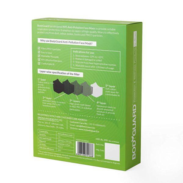BodyGuard N95 + PM2.5 Reusable Pollution Mask – Medium