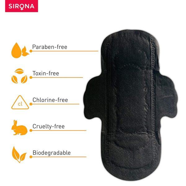 Sirona Biodegradable Black Sanitary Pads Extra Large – 10 Pcs