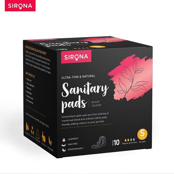 Sirona Biodegradable Super Soft Black Sanitary Pads/Napkins, Antibacterial, Ultra Thin and Rash Free Protection – Small (S) Day Pads (Pack of 10)