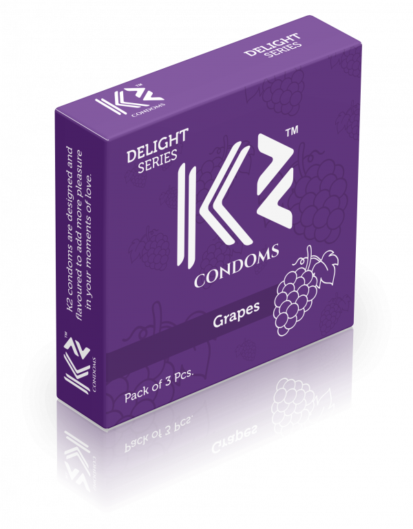 K2 Delight series- Flavored Extra time Dotted Condoms (Chocolate, Banana, Extra Time, Mint, Vanilla, Grapes & Strawberry)