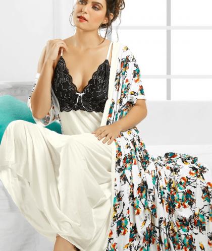 White Floral Nightwear
