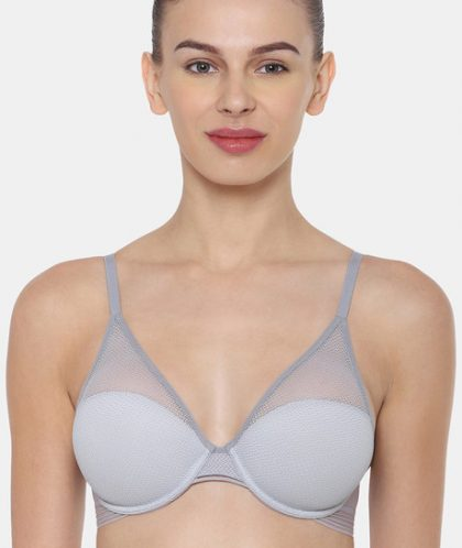 Triumph Padded Wired Lace Bra - Grey