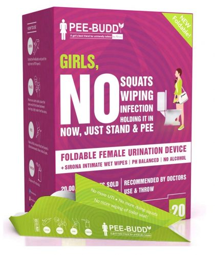 PeeBuddy Foldable Paper-Based Female Urination Device – 20 Funnels with 10 Wipes