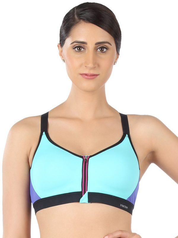 Triumph Triaction Blue Solid Non-Wired Lightly Padded Sports Bra